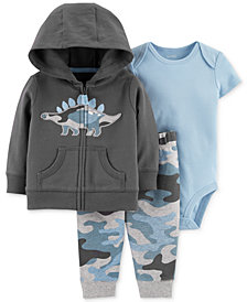 Carter's Baby Boys 3-Pc. Cotton Camo Dinosaur Hoodie, Bodysuit & Jogger Pants Set