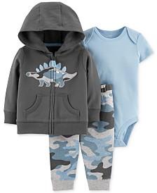 Carter's Baby Boys 3-Pc. Cotton Camo Dinosaur Hoodie, Bodysuit & Jogger Pants Set
