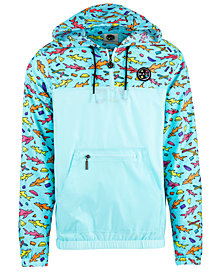 Maui and Sons Men's Sharktastic Printed 1/4-Zip Hooded Windbreaker