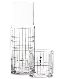 CLOSEOUT! Words Gridded Carafe and Double Old-Fashioned Glass, Created for Macy's