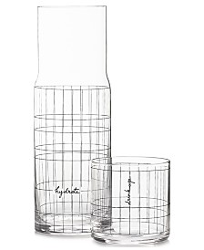 The Cellar Words Gridded Carafe and Double Old-Fashioned Glass, Created for Macy's