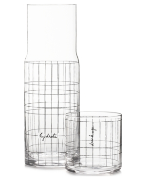 Closeout! The Cellar Words Gridded Carafe and Double Old-Fashioned Glass, Created for Macy's