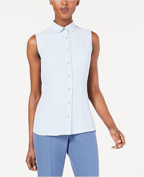 91045b48ca130 Anne Klein Sleeveless Button-Front Shirt   Reviews - Tops - Women ...