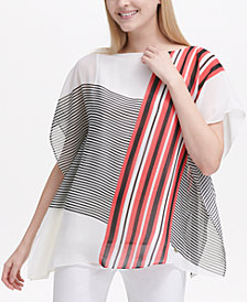 Calvin Klein Mixed-Stripe Kaftan Top