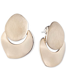 Carolee Gold-Tone Sculptural Doorknocker Button Earrings