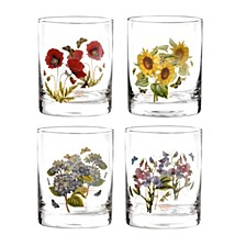 Botanic Garden Double Old Fashioned Glasses, Set of 4