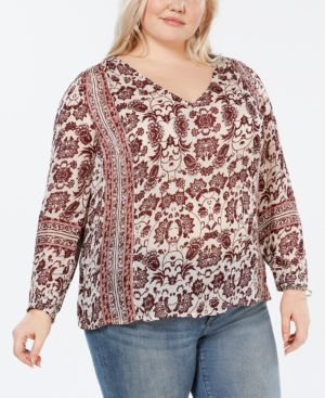 LUCKY BRAND Plus Size Printed V-Neck Top in Multi