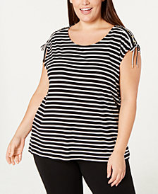 Calvin Klein Plus Size Printed Lace-Up Top