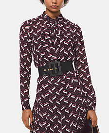 MICHAEL Michael Kors Long Sleeve Printed Top