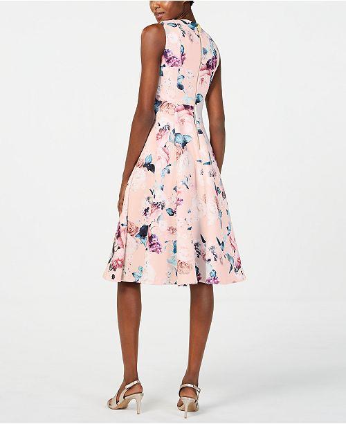 7ba7f777fcf53 Calvin Klein Floral-Print Fit & Flare Dress & Reviews - Dresses ...