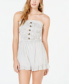 City Studios Juniors' Smocked Strapless Romper