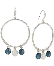 Robert Lee Morris Soho Silver-Tone Stone Drop Hoop Earrings