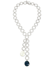 "Robert Lee Morris Soho Silver-Tone Link & Stone 21-1/2"" Lariat Necklace"