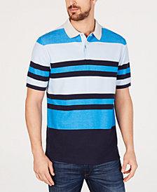 DKNY Men's Roadmap Moisture-Wicking Performance Stripe Polo
