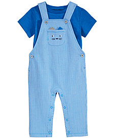 First Impressions Baby Boys 2-Pc. Striped Cat Overalls & T-Shirt Set, Created for Macy's
