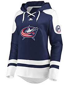 Majestic Women's Columbus Blue Jackets Centre Lace up Crew Sweatshirt