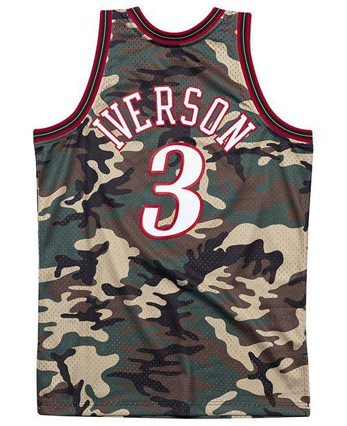 reputable site 44aa4 e0f2a Men's Allen Iverson Philadelphia 76ers Woodland Camo Swingman Jersey