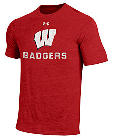 Under Armour Men's Wisconsin Badgers Heat Gear Tri-Blend T-Shirt