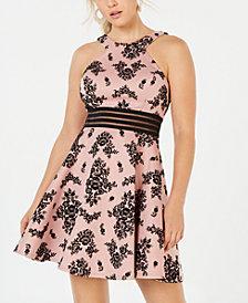 City Studios Juniors' Velvet Printed Illusion Dress