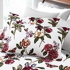 Tribeca Living 200-Gsm Flannel Blossoms Printed Extra Deep Pocket Flannel Queen Sheet Set