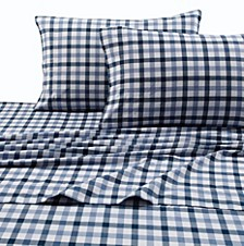 200-GSM Micro Plaid Printed Extra Deep Pocket Flannel Queen Sheet Set