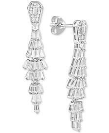 Cubic Zirconia Baguette Drop Earrings in Sterling Silver