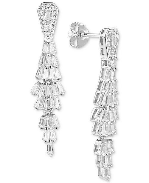 Tiara Cubic Zirconia Baguette Drop Earrings in Sterling Silver