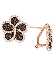 Cubic Zirconia Flower Stud Earrings in 14k Gold-Plated Sterling Silver