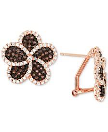 Tiara Cubic Zirconia Flower Stud Earrings in 14k Gold-Plated Sterling Silver