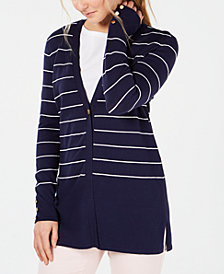 Charter Club Petite Striped V-Neck Cardigan, Created for Macy's