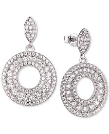 Tiara Cubic Zirconia Circle Drop Earrings in Sterling Silver
