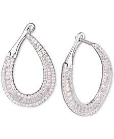 Tiara Cubic Zirconia Hoop Earrings in Sterling Silver