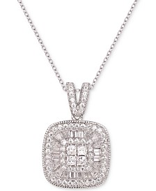 "Cujbic Zirconia Baguette & Round 18"" Pendant Necklace in Sterling Silver"