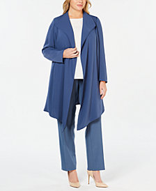 Anne Klein Plus Size Draped Open-Front Jacket