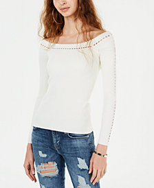 GUESS Off-The-Shoulder Pointelle Ribbed-Knit Sweater