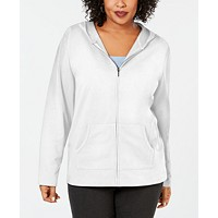 Karen Scott Womens Plus Size Hoodie Jacket