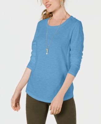 Image of Style & Co Long-Sleeve Crewneck Top, Created for Macy's