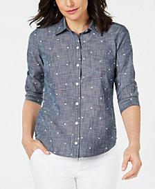 Karen Scott Petite Cotton Heart-Print Shirt, Created for Macy's