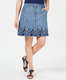 Karen Scott Embroidered Denim Skort, Created for Macy's