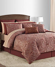 Malia 20-Pc. Burgundy Queen Comforter Set