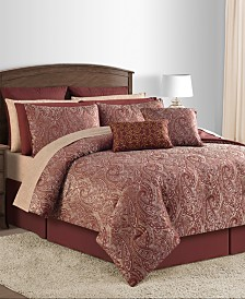 CLOSEOUT! Malia 20-Pc. Burgundy Queen Comforter Set