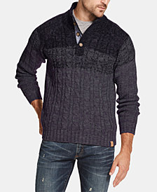 Weatherproof Vintage Men's Ombré Button Mock-Neck Sweater