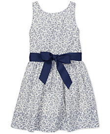 Polo Ralph Lauren Toddler Girls Floral-Print Fit & Flare Cotton Dress