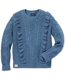 Polo Ralph Lauren Big Girls Ruffled Aran-Knit Cotton Sweater