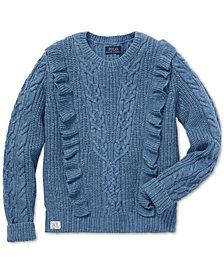 Polo Ralph Lauren Big Girls Ruffled Aran-Knit Cotton Sweater