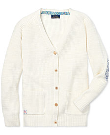 Polo Ralph Lauren Big Girls Elbow-Patch Cotton Boyfriend Cardigan