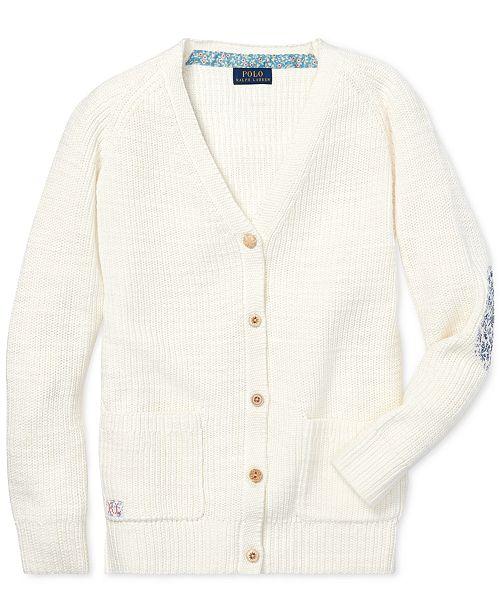 65b8eea3c0 ... Polo Ralph Lauren Big Girls Elbow-Patch Cotton Boyfriend Cardigan ...
