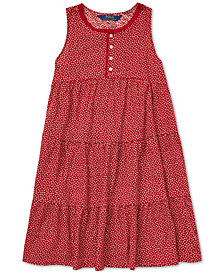 Polo Ralph Lauren Big Girls Floral-Print Cotton Dress
