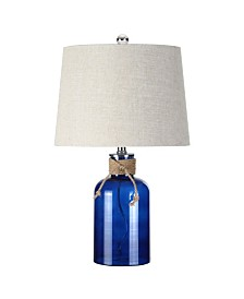 JONATHAN Y Azure Glass Bottle Led Table Lamp