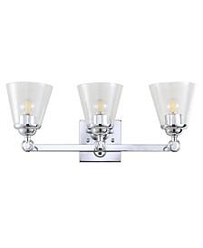 JONATHAN Y Marion 3-Light Hurricane Metal, Glass Vanity Light